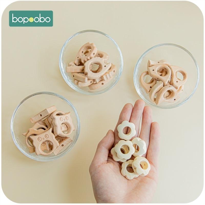 Bopoobo 20pc Baby Teether Wooden Star Flower Shape Beech Beads Making Pacifier Chain BPA Free Wood Teething Bead For Newborn