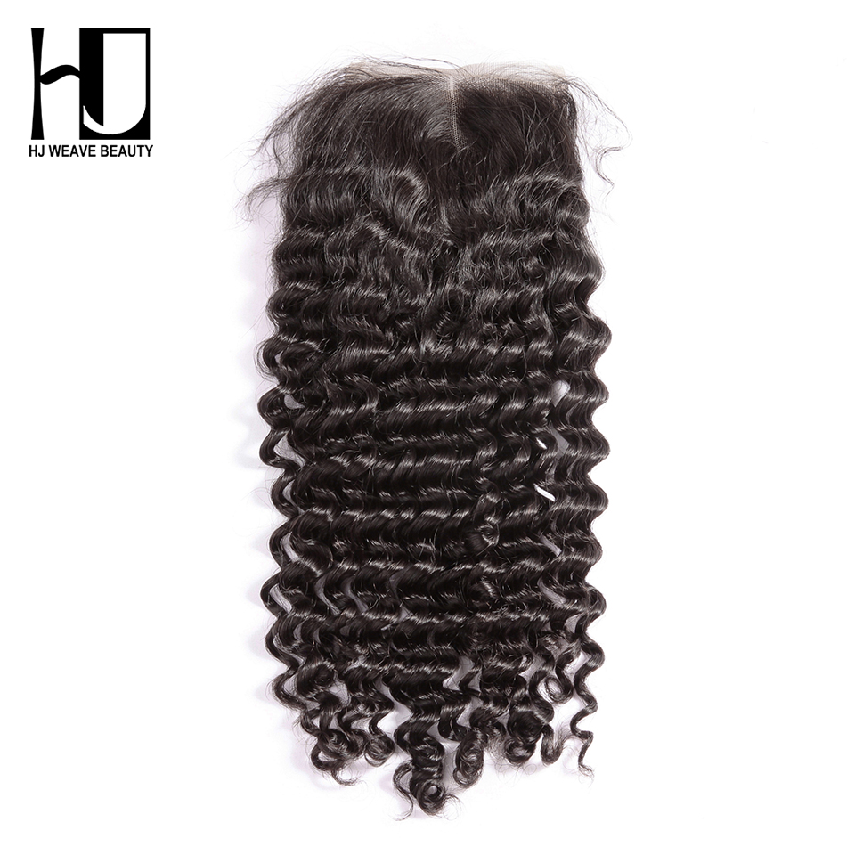 [HJ Weave Beauty] OneCut Hair 4x4 Lace Closure Brazilian Deep Wave Remy Hair Natural Color Swiss Lace Human Hair Closure