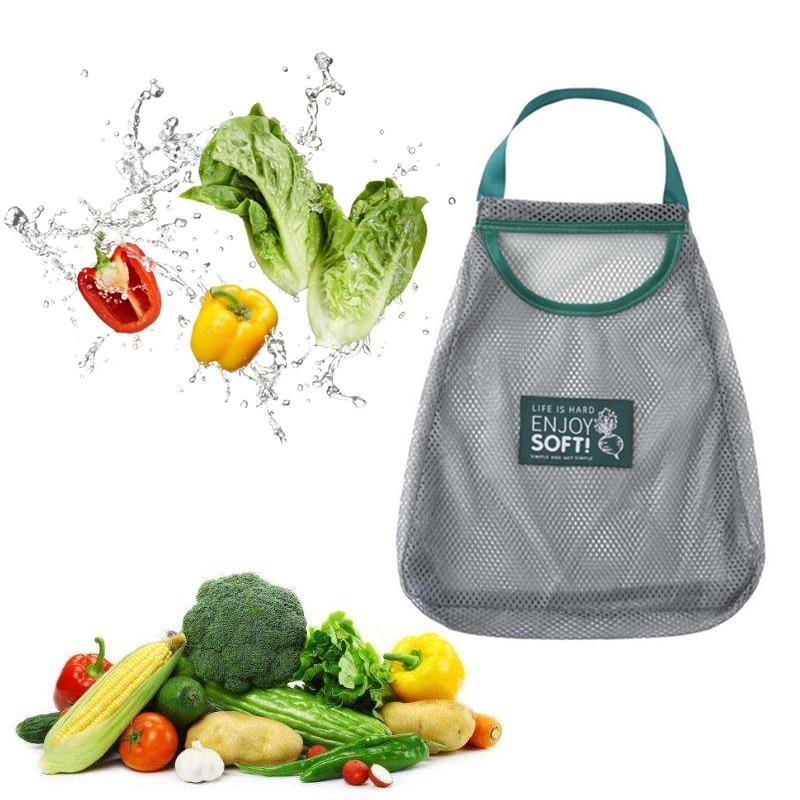 Eco Friendly Mesh Bags Vegetable Fruit Bag Reusable Mesh Hanging Storage Bag Kitchen Bathroom Organizer Toy Sorting Bags