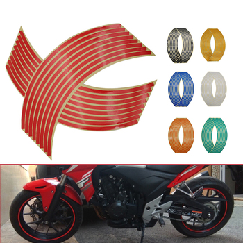 Motorcycle Wheel Sticker 3D Reflective Rim Tape Auto Decals Strips For Honda CRF 250 450 X 230F XR 230 250 400 125 CRM250R image