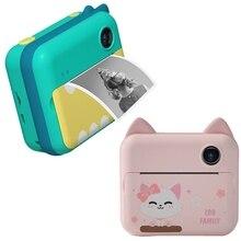 Детская камера Мгновенной Печати, детская камера для печати с фотобумагой, детская видеокамера 1080P, цифровая камера, игрушечная камера для м...