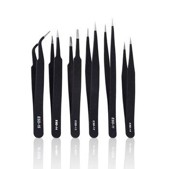 KALAIDUN 6pcs ESD Tweezers Curved Straight Tip Forceps Precision Tweezers Set Electronics Industrial Phone Repair Hand Tools 6