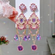 MENGJIQIAO-Pendientes colgantes de cristal rosa para mujer y niña, joyería Coreana de perlas elegantes, aretes