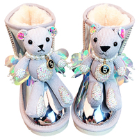Cute Animal Toddler Girls Snow Boots with Warm Fur Plush Winter Shoes 2020 Bling Rhinestones Waterproof Winter Boots Kids Shoes