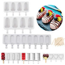 4/8 Hole Silicone Ice Cream Mold Ice Cube Tray Chocolate Popsicle Molds with Wooden Popsicle Sticks DIY Dessert Homemade Tools