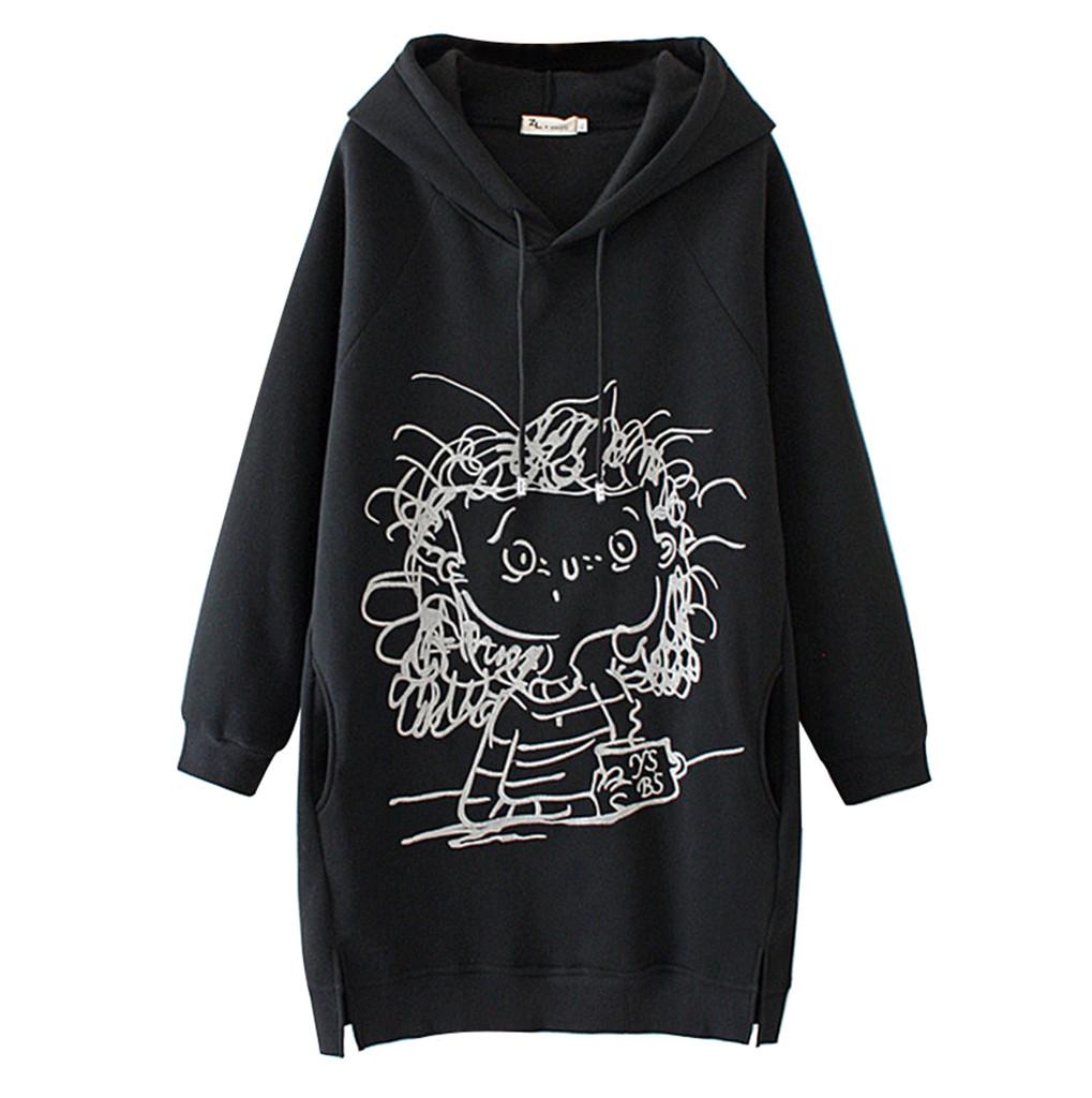 40# Women Long Hoodies Dress Cartoon Girl Print Long Sleeve Splited Hoodie Sweatshirt Pullover Tops Winter Mini Sweatshirt Dress