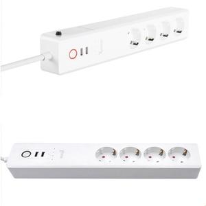 Image 3 - 10A האיחוד האירופי RUS WiFi חכם כוח שקע רצועת שקע 4 2 USB אספקת תקע קול מבוקר 100 240V רשת מסנן