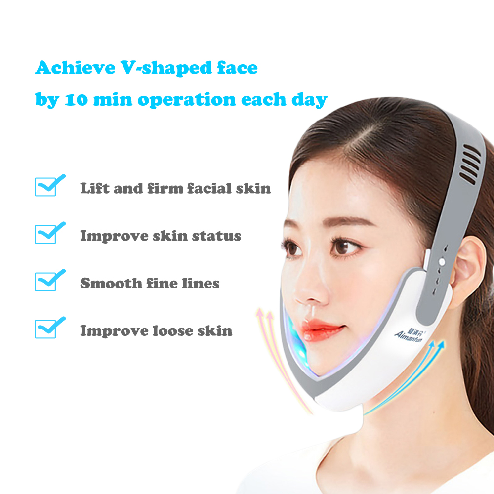 Face Shaper Electric V Face Slimmer Massager LED Red Blue Light Therapy Skin Lifting Skin Rejuvenation Firming Face Care Tools