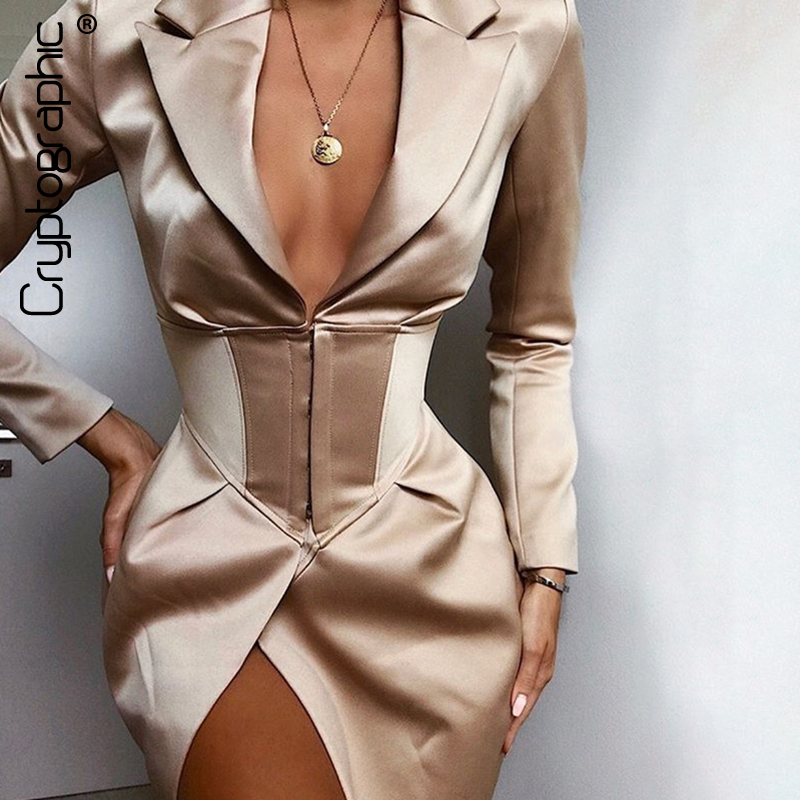 Cryptographic Deep V Neck Long Blazers Coats And Jackets Women Turn-Down Collar Long Sleeve Covered Button Coats Blazers Dresses