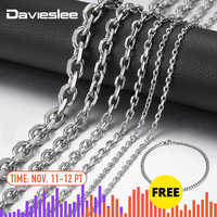Davieslee acier inoxydable collier pour hommes couleur argent Rolo lien hommes chaîne collier bijoux en gros 2.5/3/4/6/10mm DLKNM78