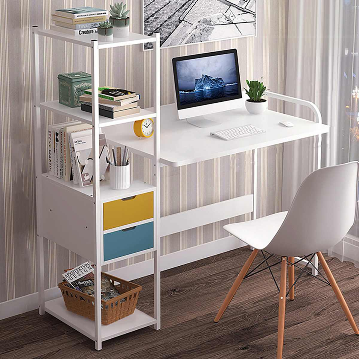 Computer Desk Laptop Desk Writing Table Study Desk with Drawers Shelves Office Furniture PC Laptop Workstation Home escritorios