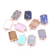 Bracelet-Accessory Charms Jewelry-Making Natural-Stone Connector Rectangle-Pendant Diy Necklace