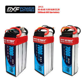 DXF 2PCS Lipo Battery 3S 4S 6S 11.1V 14.8V 22.2V 7000mah 60C Max120C for RC Helicopter Drone Car Boat Airplane Quadcopter dxf good quality lipo battery 14 8v 4s 8000mah 30c 60c rc akku bateria for airplane helicopter boat fpv drone uav