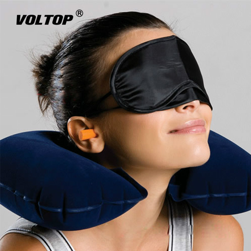 Car Seat Pillow Car Accessories Interior Blindfold Earplug Neck Rest Inflatable Pillow U-Shaped Air Cushion