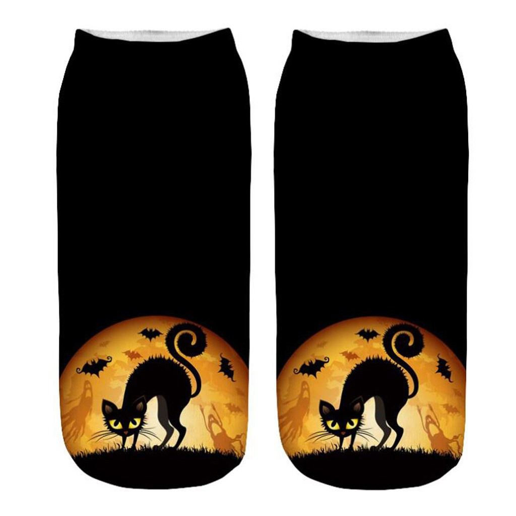 Women Skull 3D Printed Halloween Funny Socks Pumpkin Lantern Cat Bat ghost Socks Cosplay Party Gift Casual Short Sports SocksF93