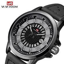 VA VA VOOM Men Watch Sport Roman Numerals Quartz watches Date Watch Male Leather Strap Wrist watch Clock Man relogio masculino
