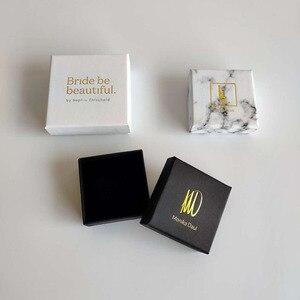Image 1 - 100 TEILE/LOS schmuck geschenk boxen Weiß Benutzerdefinierte verpackung box mit logo   Ring Halskette Armbänder Ohrring Geschenk Verpackung box
