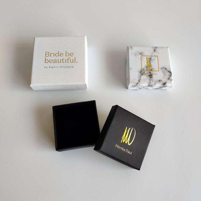 100 TEILE/LOS schmuck geschenk boxen Weiß Benutzerdefinierte verpackung box mit logo   Ring Halskette Armbänder Ohrring Geschenk Verpackung box