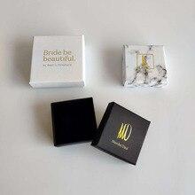 Cajas de Regalo para joyería, caja de embalaje personalizada con logo, anillos, collares, pulseras, pendientes, regalo, caja de embalaje, 100 unids/lote