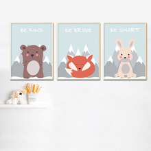 Wall Art Canvas Painting Baby Nursery Print Children Poster Woodland Animal Fox Bear Decoration Picture Nordic Kids Bedroom Deco недорого