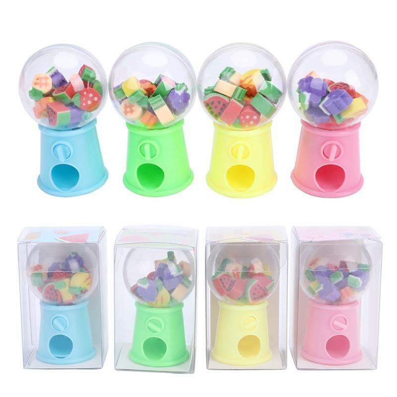15pcs/set Creative Cartoon Mini Fruit Egg Twister Eraser Machine Bank Eraser Dispenser Stationery Office Christmas Gift Children