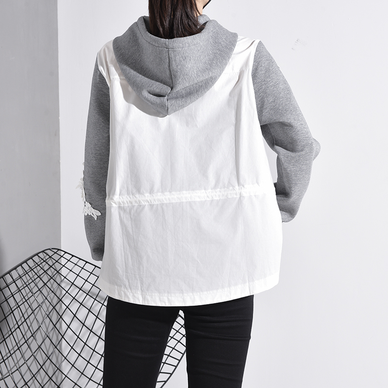 [EAM] Loose Fit Embroidery Nailed Drawstring Sweatshirt New Hooded Long Sleeve Women Big Size Fashion Tide Spring 2020 1M98102 5