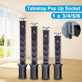 цена на EU Plug 16A PULL UP 3/4/5/6 Power Socket 2 USB Charging Port Kitchen Table Desktop Sockets Retractable Countertops Worktop