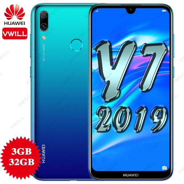 Huawei y7 2019 smartphone versão global, DUB LX1, dual sim, octacore, 3g 32g, 4000mah, tela de 6.26 polegadas, identificação facial celular da câmera ai desbloqueado