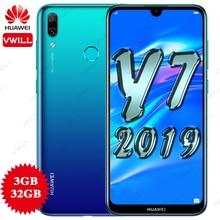 هاتف هواوي Y7 2019 الإصدار العالمي DUB LX1 هاتف ذكي Octacore بشريحتين 3G 32G 4000mAh 6.26 بوصة ببصمة وجه إفتح كاميرا AI