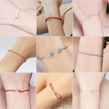 BISAER-bracelet rond en argent Sterling 925 bleu porte-bonheur, joyaux maléfiques, amour cœur ouvert, poignets, pour femmes et filles, à la mode