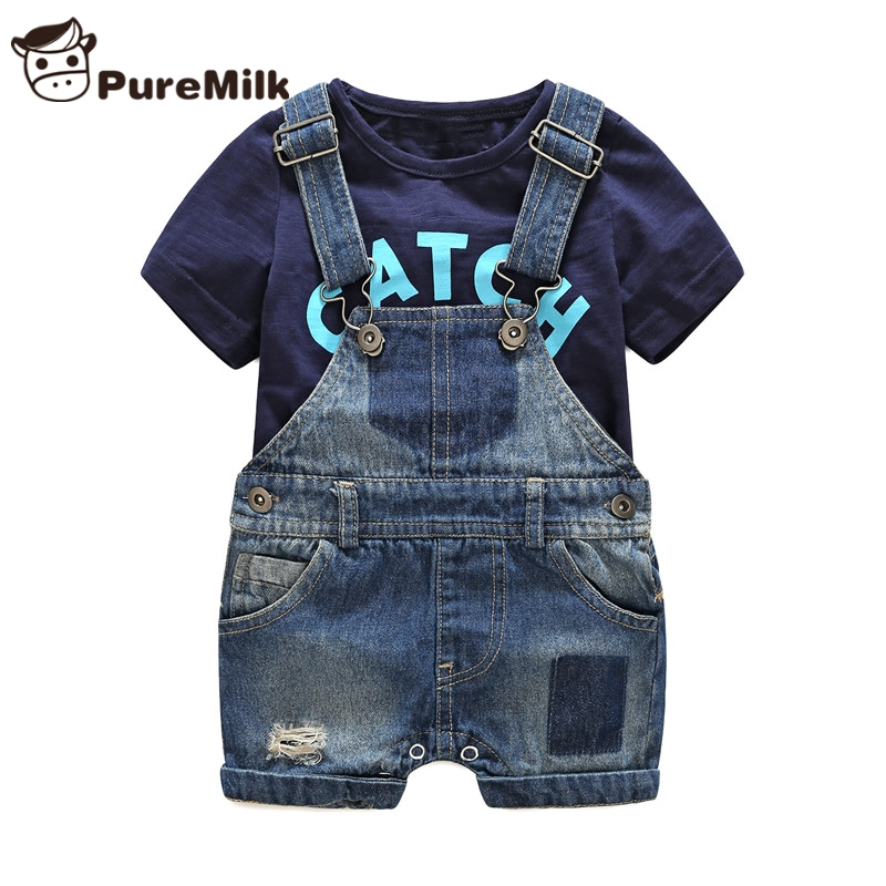Bebes newborn clothes cotton letter printed t shirt with demin overalls baby boys clothes summer children clothing-in Clothing Sets from Mother & Kids