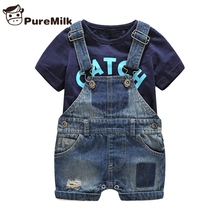 Bebes 신생아 옷 목화 편지 인쇄 된 t 셔츠와 demin overalls 아기 소년 의류 여름 어린이 의류