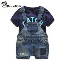 Bebes Одежда для новорожденных хлопковая футболка с надписью и джинсовым комбинезоном одежда для маленьких мальчиков летняя детская одежда