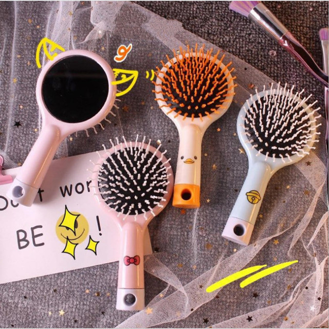 1pcs New style  Comb Portable Massage Comb with Mirror Cute Antistatic Travel Home Plastic Hair Makeup Model Care Tools