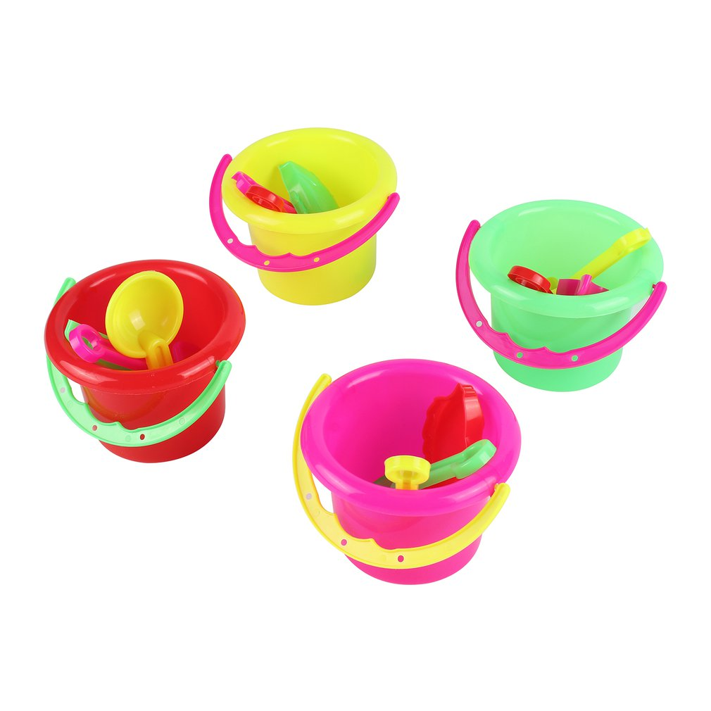 4pcs Novelty Mini Beach Toys Set Sand Pails Bucket With Shovel Rake Summer Pool Beach Sand Play Toys Gift For Children Kids