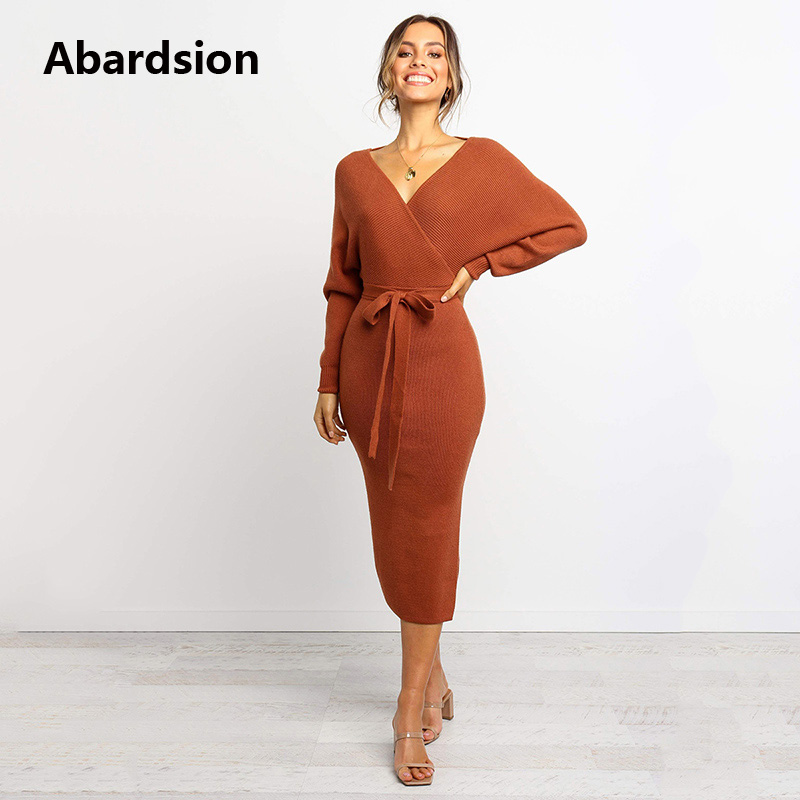 Abardsion Women Knitted Sweater Dress Wrap Belted Tunic Midi Vestidos Long Sleeve Double V Neck Split Casual Autumn Dresses 19 7