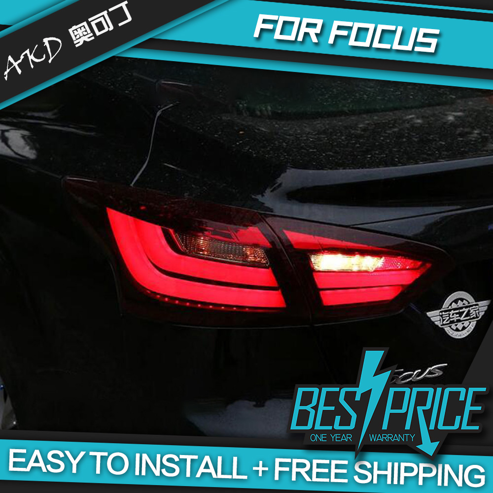 AKD tuning cars Tail lights For <font><b>Ford</b></font> <font><b>Focus</b></font> Sedan 2012-2014 <font><b>Taillights</b></font> LED DRL Running lights Fog lights angel eyes Rear parking image