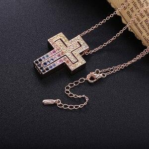 Image 4 - Женская Длинная цепочка из розового золота с кристаллом D Leter, ожерелье с подвеской из фианита ААА, роскошное ювелирное изделие из стерлингового серебра 925 пробы