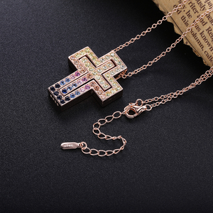 Image 4 - Slovecabin Pink Gold Long Chain D Leter Cross Colorful AAA Zircon Pendant Necklace 925 Sterling Silver JapanWomen Luxury Jewelry
