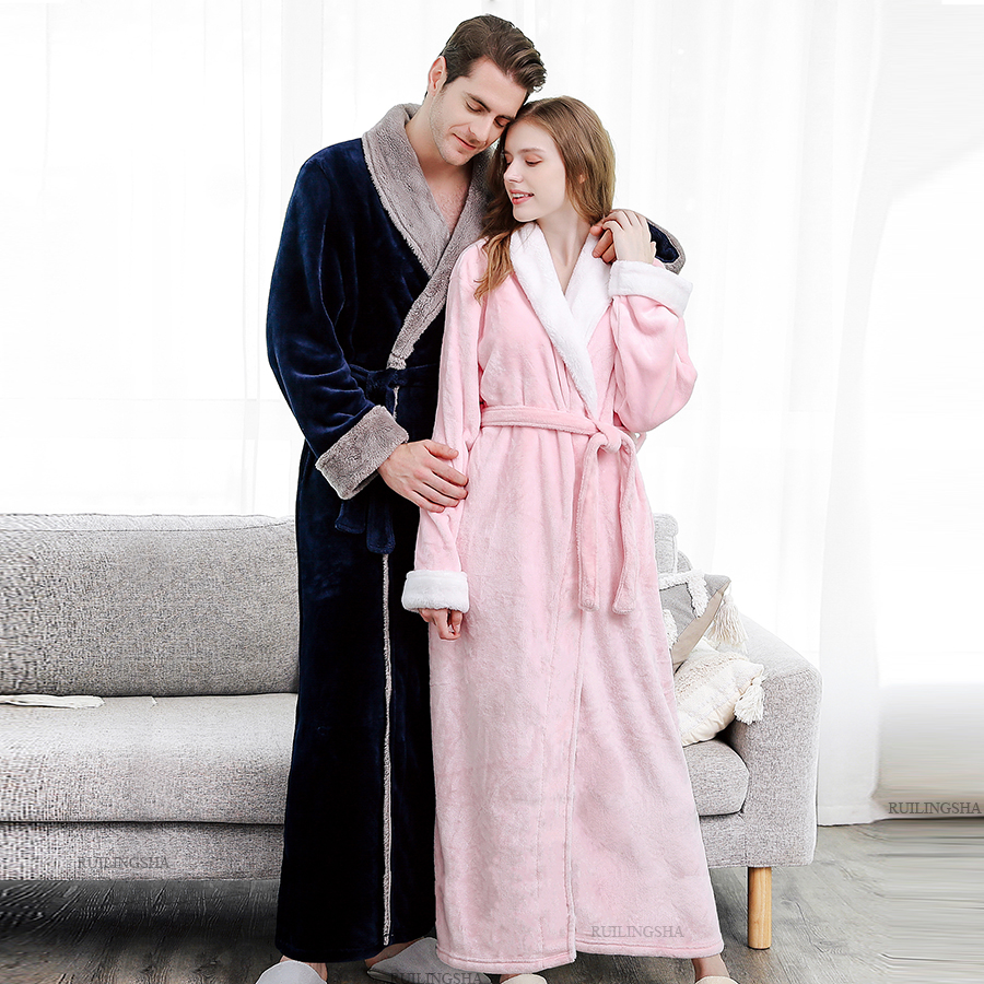 Men Winter Plus Size Warm Coral Fleece Hooded Bathrobe Flannel Kimono Extra Long Bath Robe Night Dressing Gown Women Sleepwear