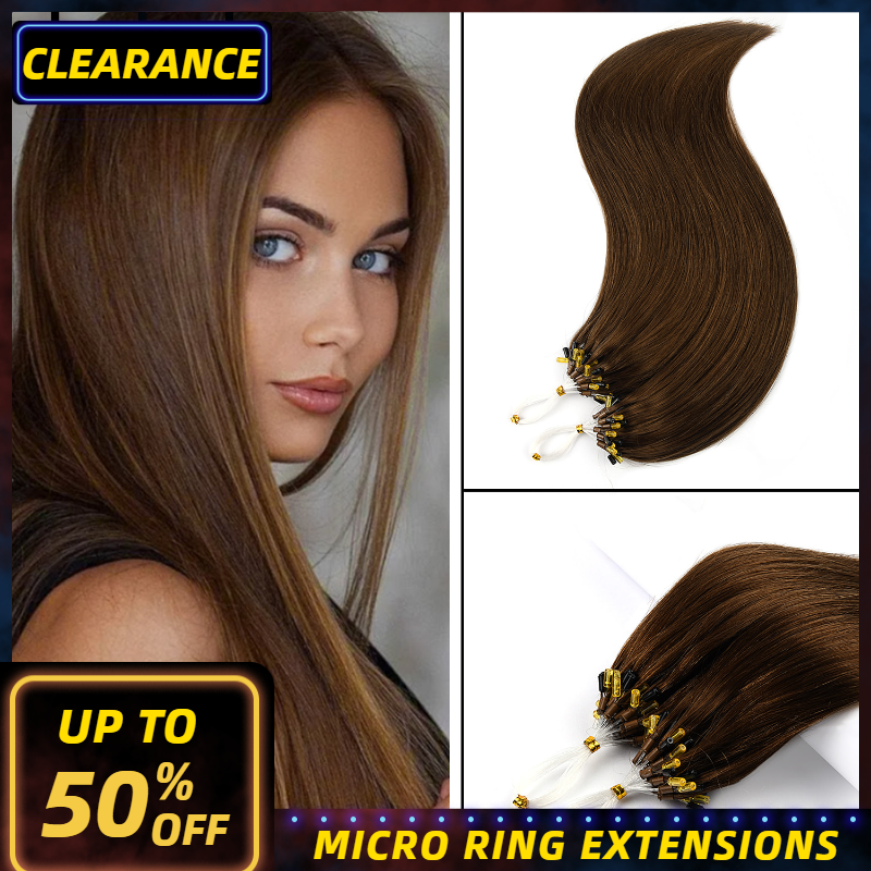Neitsi Machine Made Remy Straight Loop Micro Ring Hair Extensions 100% Human Micro Beads Links Hair 16