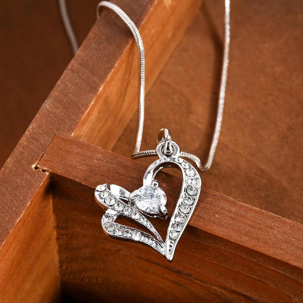 แฟชั่น Charm ผู้หญิงสาวโลหะคู่หัวใจคริสตัล Rhinestone จี้สร้อยคอสร้อยคอสร้อยคอของขวัญ
