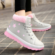 Fashion Snow Boots Woman 2019 Winter Lace Up Star Wear-resistant PU Leather Boots Women Plush Rubber Ankle Boots For Women taoffen winter genuine real leather boots women plush ankle snow boots feminina platforms fashion lace up women shoe size 33 43