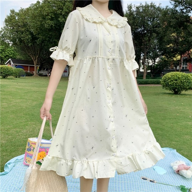 Lolita Mori Girl Vintga Loose Falbala Doll Collar Japanese Sweet Dress New