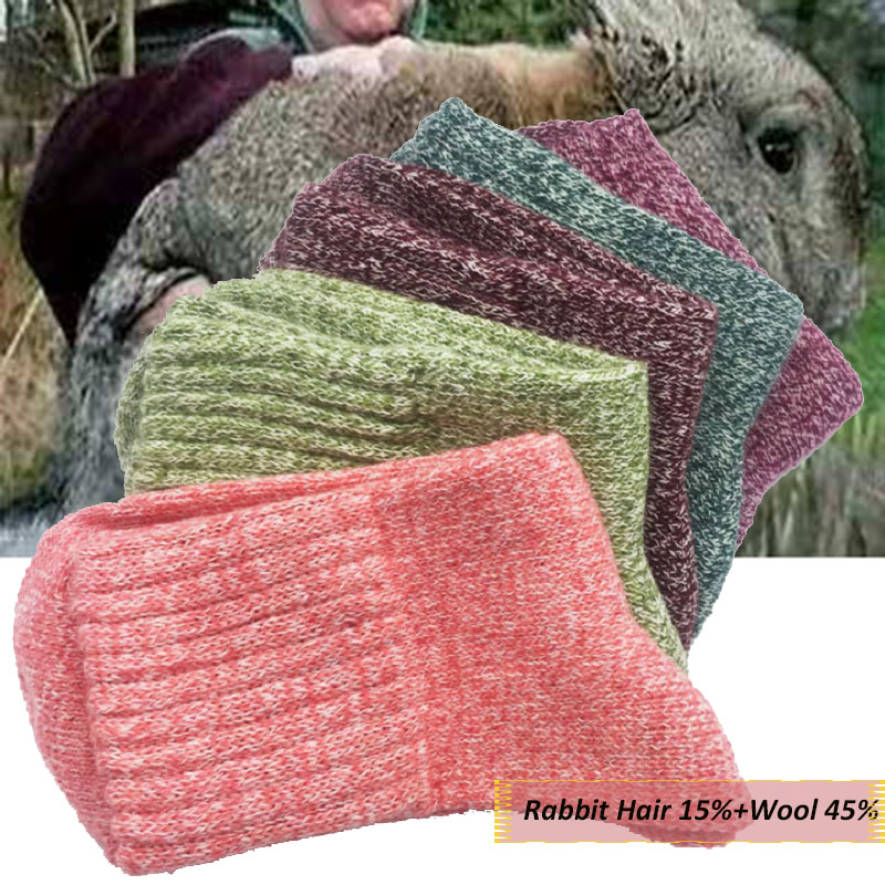1 Pair Wool And Rabbit Fur Thick Socks Women Lady Soft Cotton Sports Casual Sock Winter Warm Spring Outdoor Cold Resistance