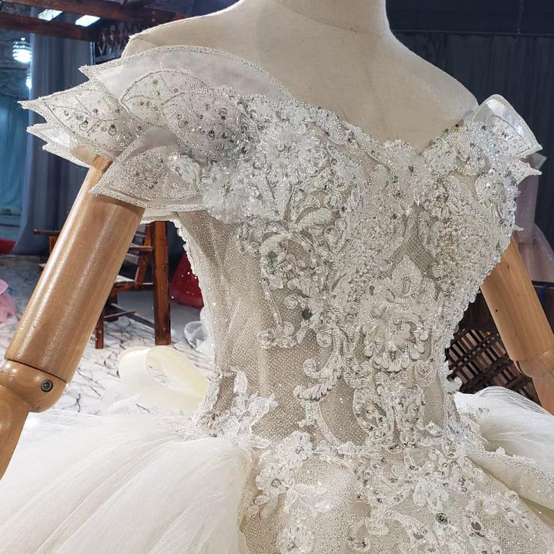 HTL1839 Luxurious Sequined Beading Crystal Pearls Wedding Dress 2020 V-Neck Short Sleeve Ball Gowns 6