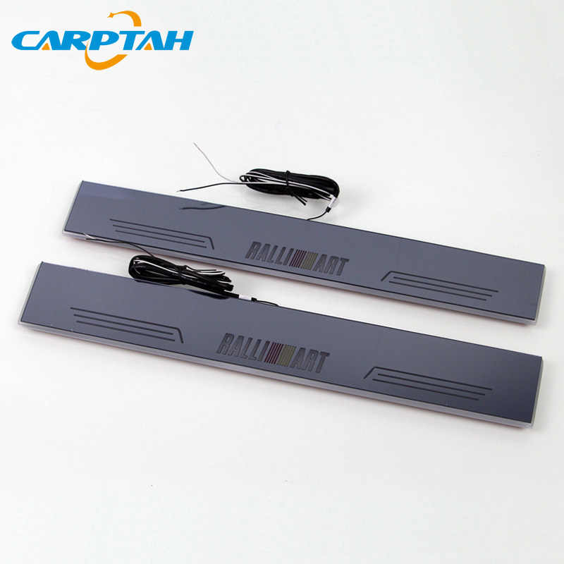 Carptah Bekleding Pedaal Auto Exterieur Onderdelen Led Instaplijsten Scuff Plaat Pathway Dynamische Streamer Licht Voor Mitsubishi Lancer 10 Ralliart