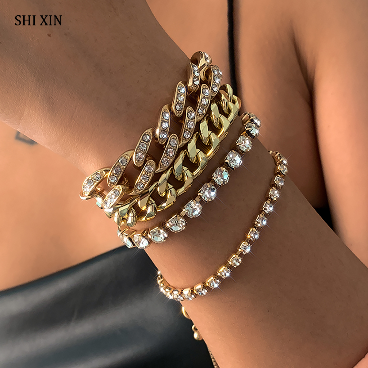 SHIXIN Hiphop Thick Iced Out Chain Bracelets Set for Women Shiny Rhinestone Charm Bracelet Hand Chain Crystal Bracelet 2021 Gift