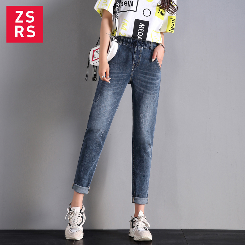 Женские винтажные джинсы Zsrs, женские джинсы большого размера с высокой талией и эластичным поясом|Джинсы МОМ| | АлиЭкспресс