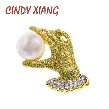 CINDY XIANG Wear Gold Gloves Hand Brooches Unisex Women And Men Brooch Pin Rhinestone Pearl Jewelry 2 Colors Avaibale Gift cindy xiang blue shark brooch women and men brooch pin unisex enamel brooches vivid animal jewelry badages fashion accessories